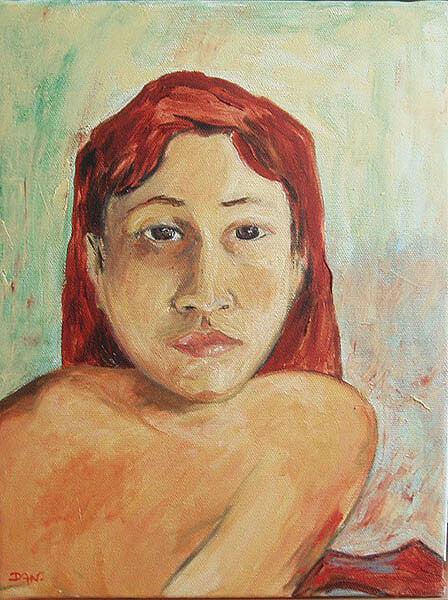 Portrait femme éventail Gauguin